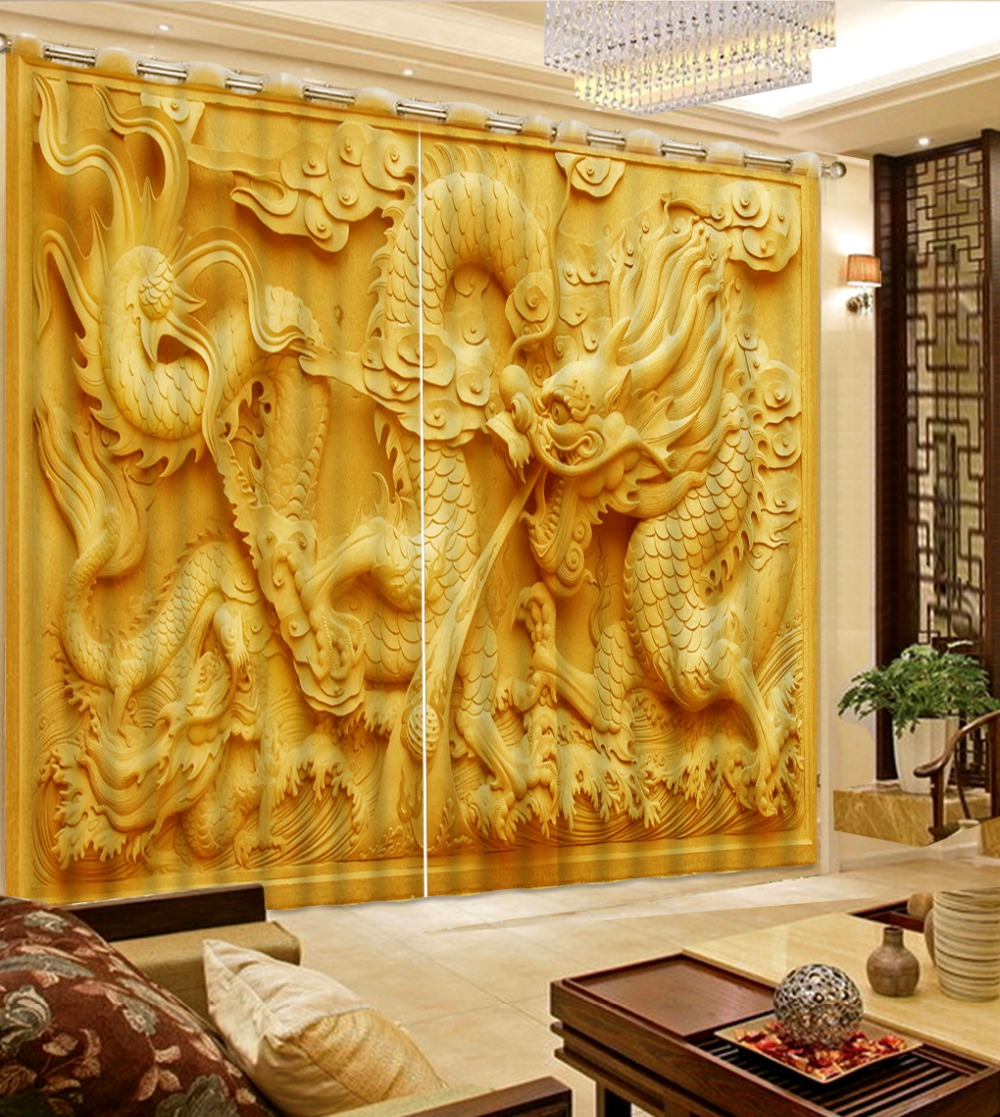 Chinese Printing Curtains Blackout Living Room Bedroom Curtains Luxury Dargon Decor Polyester/Cotton thick curtainsChinese Printing Curtains Blackout Living Room Bedroom Curtains Luxury Dargon Decor Polyester/Cotton thick curtains