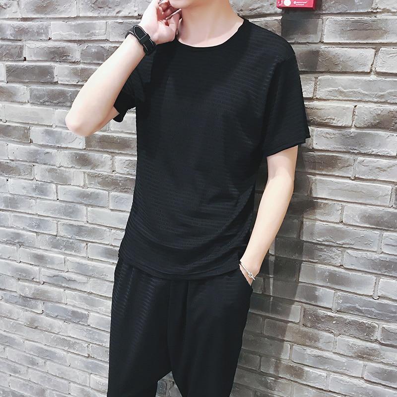 Male Summer Tracksuit Mens 2 Piece Set Short Sleeve Tee And Harem Shorts Moda Hombre 2018 Chandal De Hombre De Verano Black