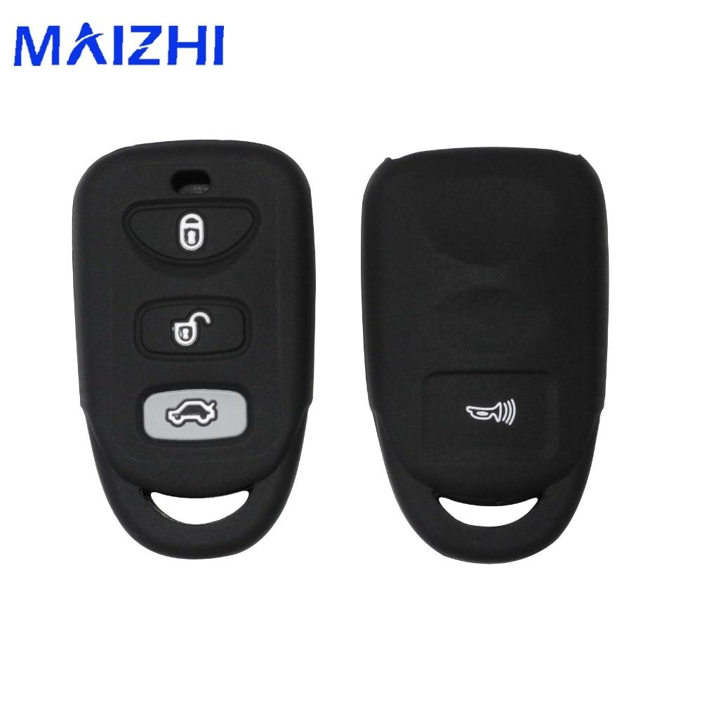 maizhi Silicone Cover for HYUNDAI KIA Tuscon Elantra Rio Sportage Rondo Accent Smart Remote 3 Buttons Key Case Fob 3B+ Panic