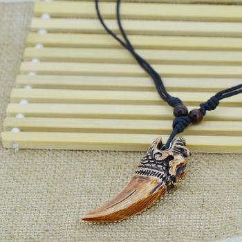 OBSEDE 6 Style Women Men Brown Yak bone Carving Dragon Totem Pendant Talismans Leather Rope Chain Statement Necklace Jewelry chain