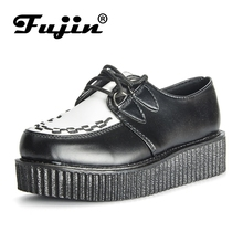 Fujin Brand  Creepers Women Shoes Flat Platform Black Casual Lace-Up Female Large Size