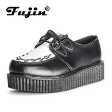 Fujin Brand Creepers Women Shoes Flat Platform Shoes Black Women Casual Shoes Lace-Up Creepers Female Shoes Large Size
