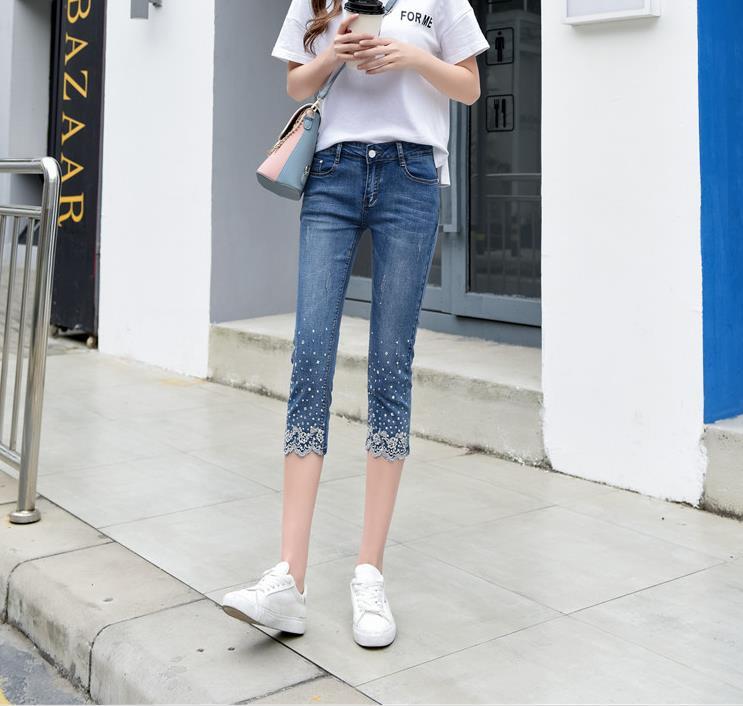 Nouveau jeans femmes broderie Slim crayon pantalon mollet-longueur jeans