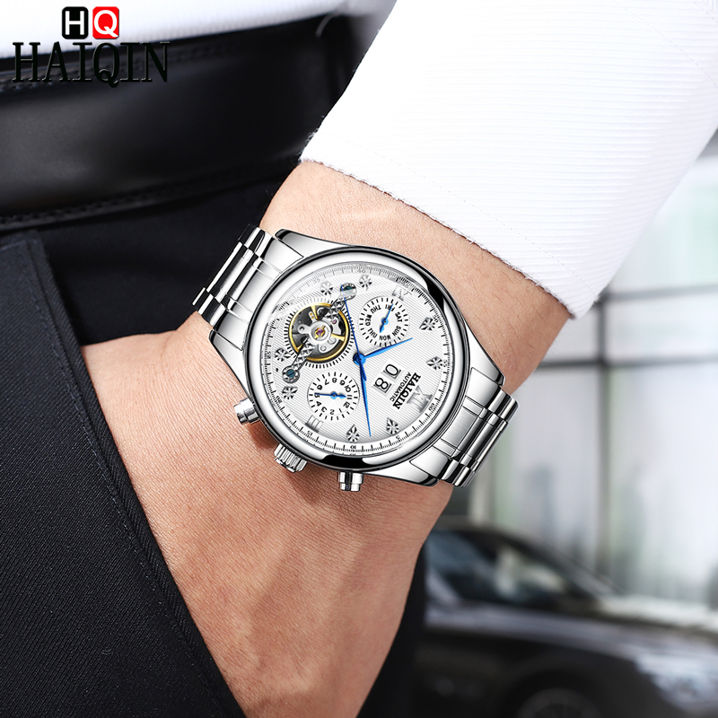 2019 HAIQIN Automatic Mechanical Men Watches Bussiness Watch For Men Full Steel Military Waterproof Wind Tourbillon Week Clock in Mechanical Watches from Watches