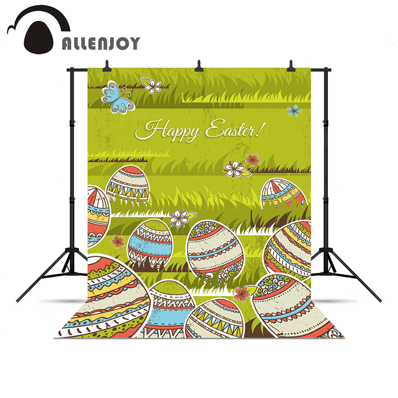Allenjoy photo backdrop Easter grass meadow flowers colorful eggs butterfly nature vinyl for photography professional camera