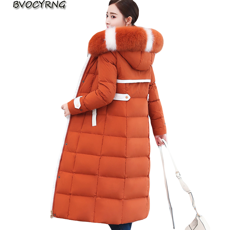New Winter   down   jacket women White duck   down   parka Fox big fur collar Hooded   coat   female Plus size Thicken High end   down     coats