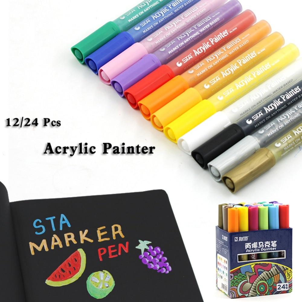 Acryl malen marker 12/24 farben set bleib zeichnung stifte für künstler lieferanten-in Markierstifte aus Büro- und Schulmaterial bei