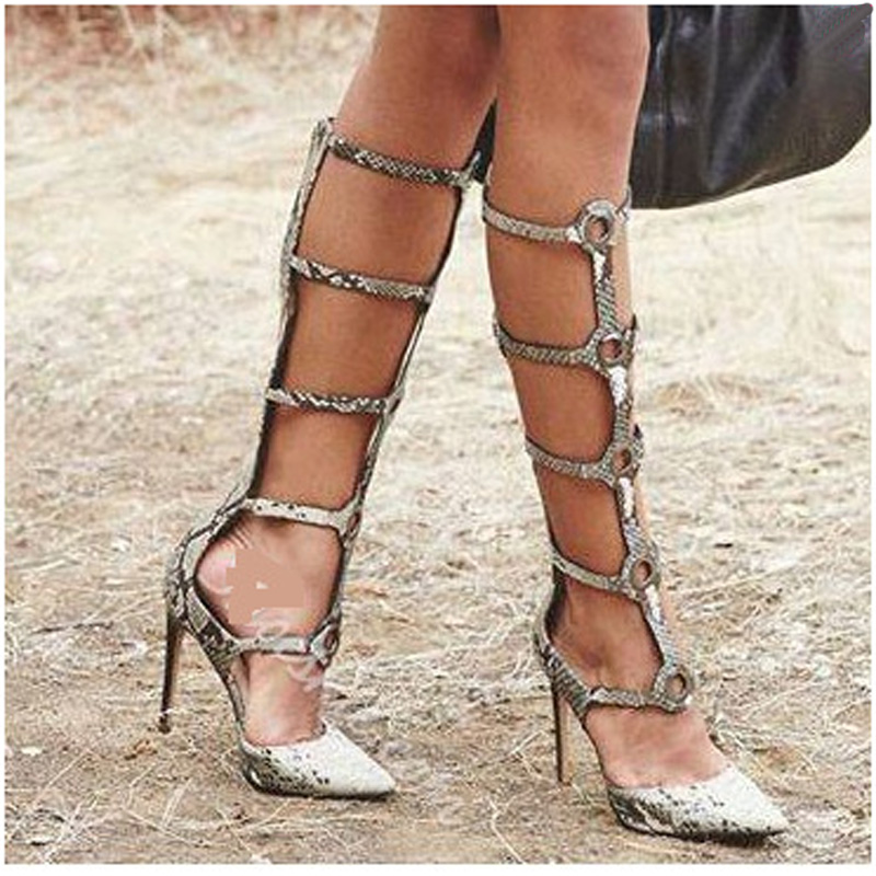 EMMA KING 2018 New Fashion Botines De Mujer Snakeskin Summer Boots Cut-Out High Heels Pointed Toe Snake Print Boots WomenEMMA KING 2018 New Fashion Botines De Mujer Snakeskin Summer Boots Cut-Out High Heels Pointed Toe Snake Print Boots Women