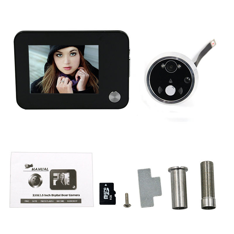 Peephole Door Viewer Camera Eye Video Intercom Support TF Card Night Vision Home Security Free shipping yobang security 3 5 lcd screen peephole door viewer camera dvr camera video door eye home door bell eye with ir night vision