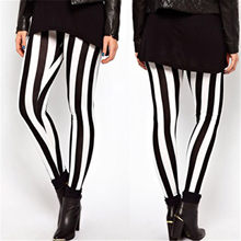 2018 New Style Fashion Summer Plus Size Women Casual Black White Elastic Stripes Stretch Leggings Long Pants(China)