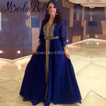 Navy Blue Evening Dress Plus Size Robe Arabe Vestidos Largos De Noche Crystals Chiffon A-line Long Sleeves Formal Dresses Abiye
