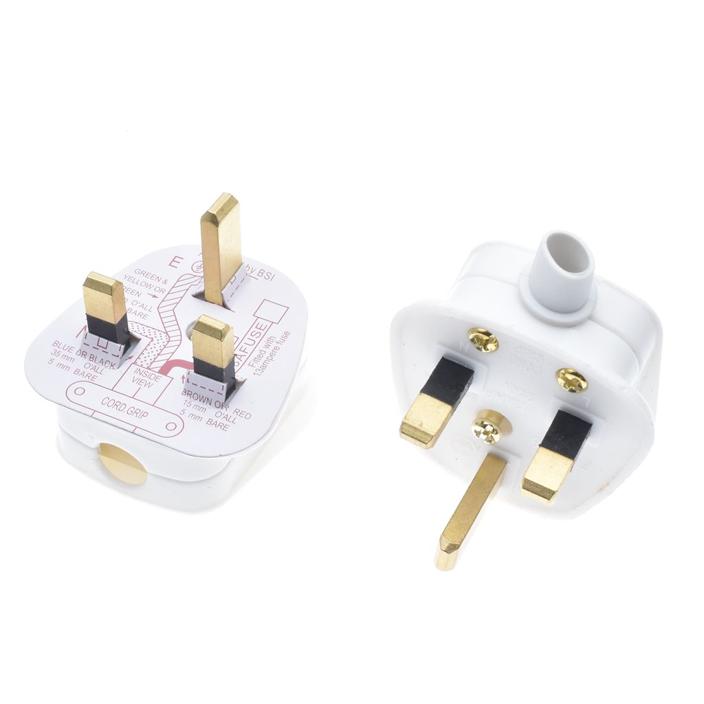 13A FUSE FITTED 10 x UK 13A PLUG TOP MAINS 13 AMP WHITE 3 PIN
