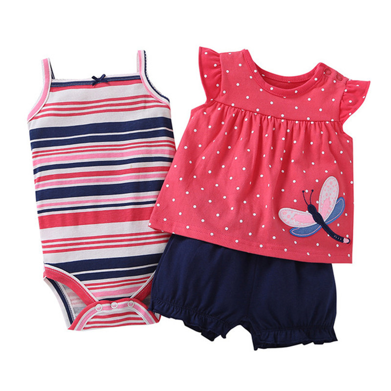 Times' Favourite New Fashion Baby Girl Clothes 100% Cotton Summer Baby Clothes Set T-Shirt+Baby Bodysuit+Pants Cartoon Printed