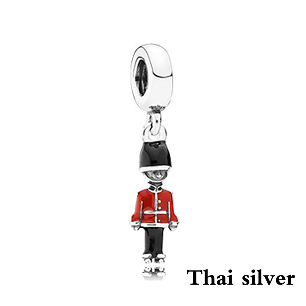 2019 NEW Thai Silver TOY SOLDIER SILVER DANGLE WITH BLACK AND RED ENAMEL Charm Pendant Original Jewelry Limited Collection Brand2019 NEW Thai Silver TOY SOLDIER SILVER DANGLE WITH BLACK AND RED ENAMEL Charm Pendant Original Jewelry Limited Collection Brand