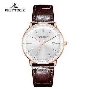 Image 3 - 2020 Reef Tiger/RT TOP Band นาฬิกาผู้ชาย Rose Gold นาฬิกาอัตโนมัติสายหนังสีน้ำตาล RGA8215