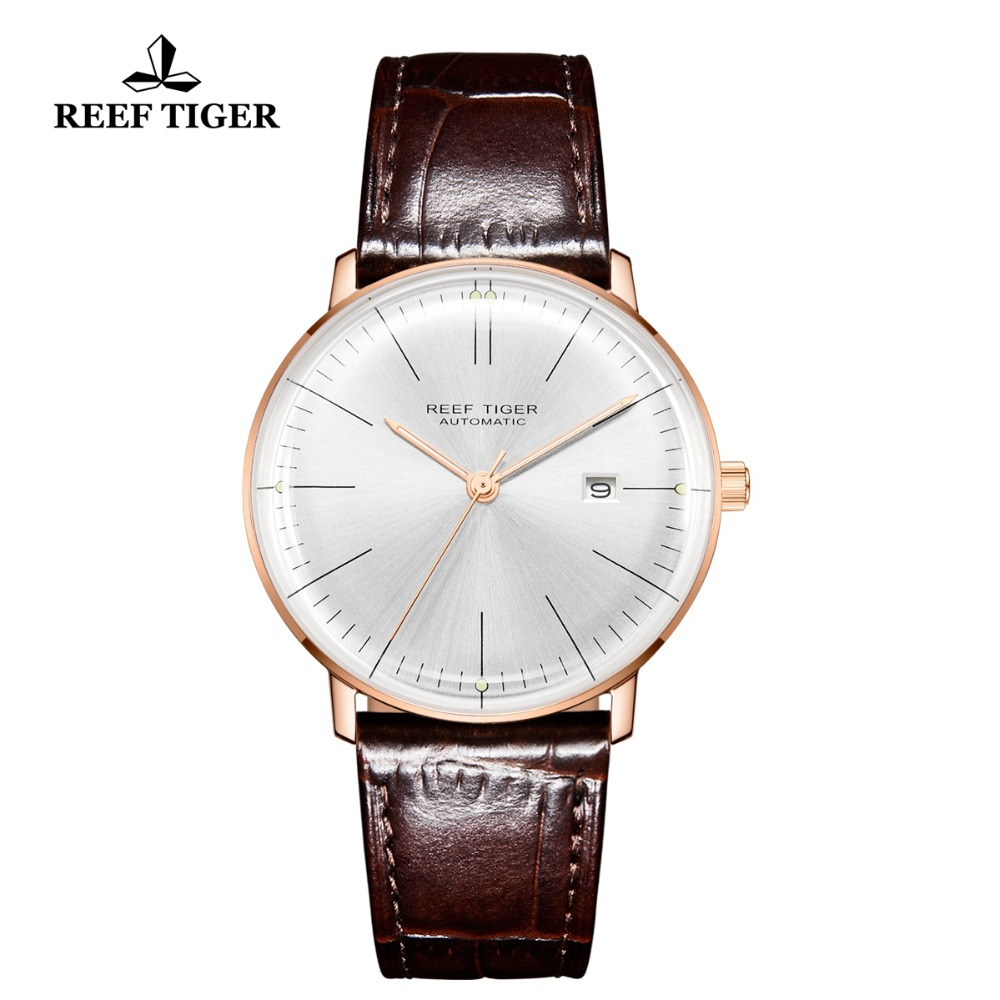 Image 3 - 2020 Reef Tiger/RT Top Band Luxury Dress Watch for Men Rose Gold Automatic Watches Brown Leather Strap RGA8215Mechanical Watches   -