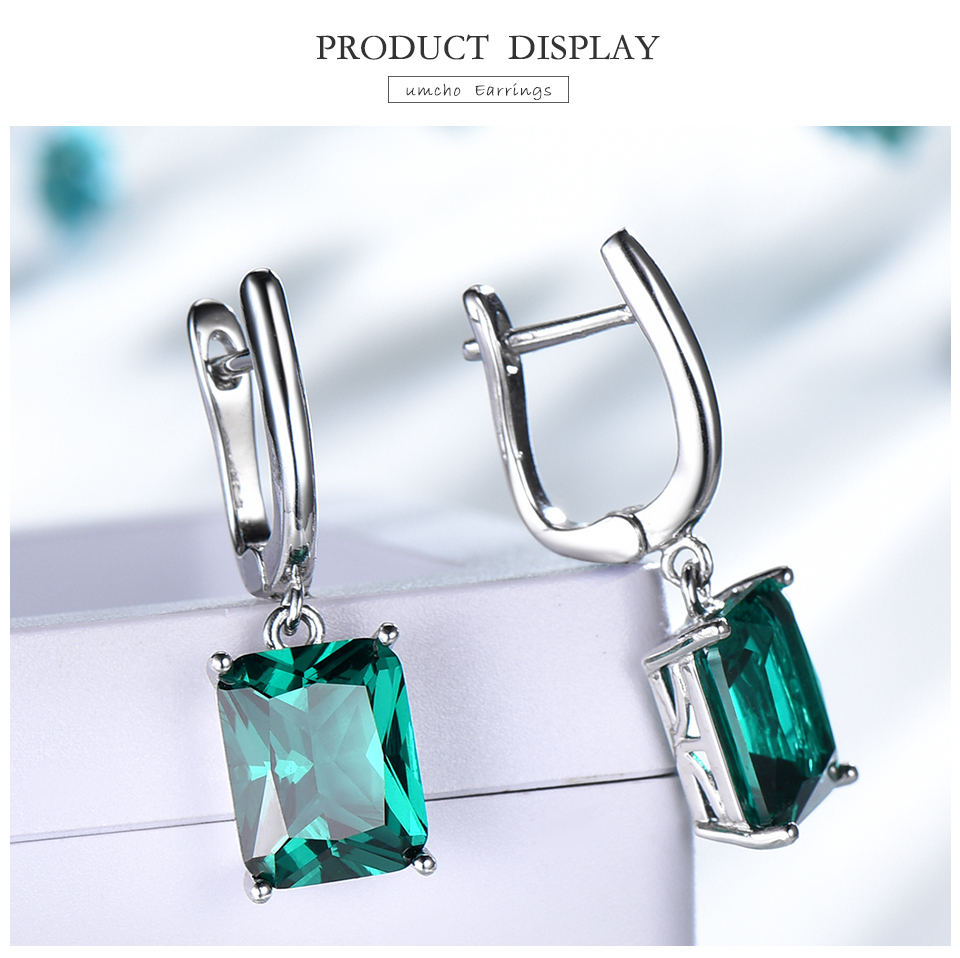 Honyy ??Emerald 925 sterling silver earring for women EUJ094E-1-pc (3)