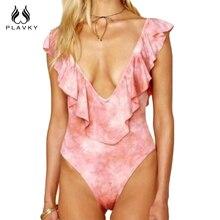 f19b88e310 PLAVKY 2018 Sexy Deep Plunge Low Cut Pink Tie Dye Ruffled Trikini Swim  Bathing Suit Monokini
