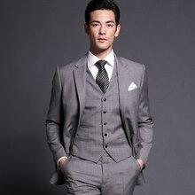 Новое поступление мужской костюм на заказ, приталенные Свадебные костюмы(пиджак+ брюки+ жилет), мужские смокинги для жениха, Лучший человек для шафера на выпускной