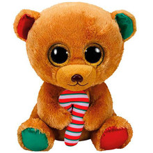 "Pyoopeo Ty Beanie Boos 10"" 25cm Bella the Christmas Teddy Bear Plush Medium Stuffed Animal Collection Doll Toy with Heart Tag(China)"