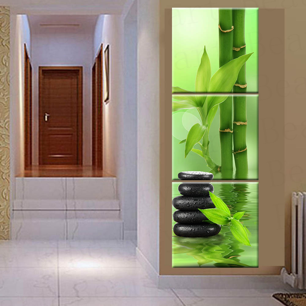 online buy wholesale spa decor from china spa decor wholesalers 3 panel wall art canvas painting spa stone bamboo home decoration canvas prints pictures for living