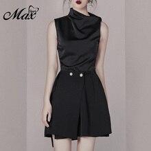 Max Spri 2019 New Style Sleeveless Crop Top Irregular Hem Pearl Decor Mini Skirt Fashion Party Women Clothing Two-piece Set
