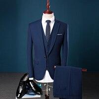 3 unids Ropa Traje Azul de Los Hombres de la Marca 2017 Británico Slim Fit Simple Vestido de novia Trajes de Hombres de Negocios de Ropa Formal Hombres Conjunto Chaqueta 3XL-S LOS