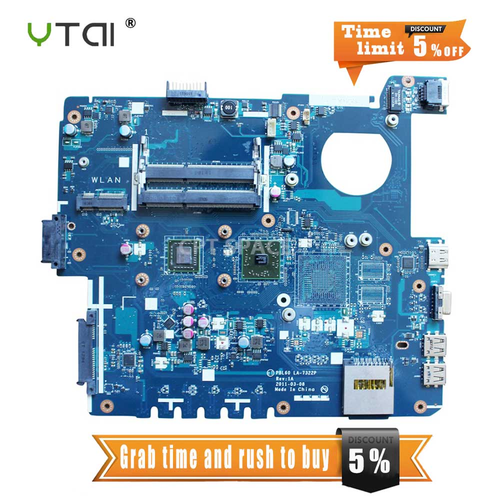 YTAI PBL60 LA-7322P Rev: 1A with CPU For ASUS K53U X53U X53B laptop motherboard DDR3 free shipping fully tested used asus laptop motherboard pbl60 la 7322p fit for k53u x53u x53b k53b x53by x53br k53by ddr3 with amd cpu
