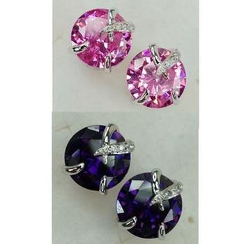 Fleure esme cute engagement wedding drop earrings jewelry earrings for women purple pink cubic zirconia rhodium plated r888 r891