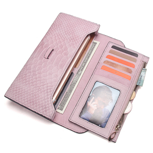 Image 4 - Роскошный брендовый Женский кошелек из натуральной кожи, дамские сумочки, розовый кошелек с тиснением под змеиную кожу, дизайнерская длинная сумочка на защелке для мобильного телефона, держатель для карт