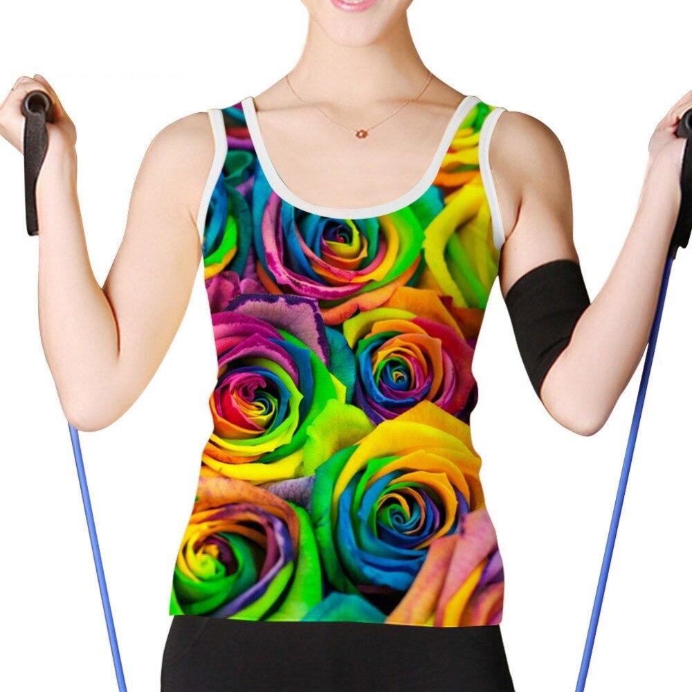 Noisydesigns filles belle fleur 3D impression débardeur été femmes gilet hauts Slim Fit décontracté t-shirt images personnalisées