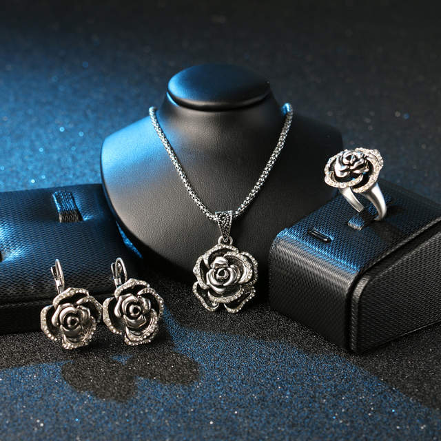 ebfe8239b placeholder Luxury Vintage Women's Wedding Jewelry Sets Color Silver Turkey  Crystal Roses Ring Earring And Pendant Necklace