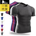 Homens marca Magro em torno do pescoço T-shirt dos homens de moda T-camisa de musculação compressão shirt men's Patchwork secagem rápida roupas