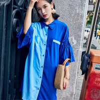 DoreenBow Blue Patchwork Summer Beach Party Style Dress HIGH QUALITY Notched Neck Women Fahion Dress Size