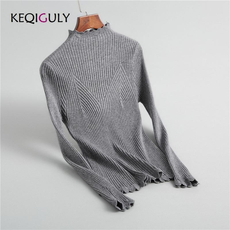 Hohe Qualität Rollkragen Herbst Frauen Reine Farbe Volle Hülse Pullover Schlank Stricken Baumwolle Gestrickte Pullover jumper Feminino