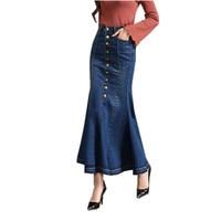 2018 Europe Fashion Retro Curvy Cowboy Fishtail Skirt Women S Slim Package Hip Long Skirt Blue