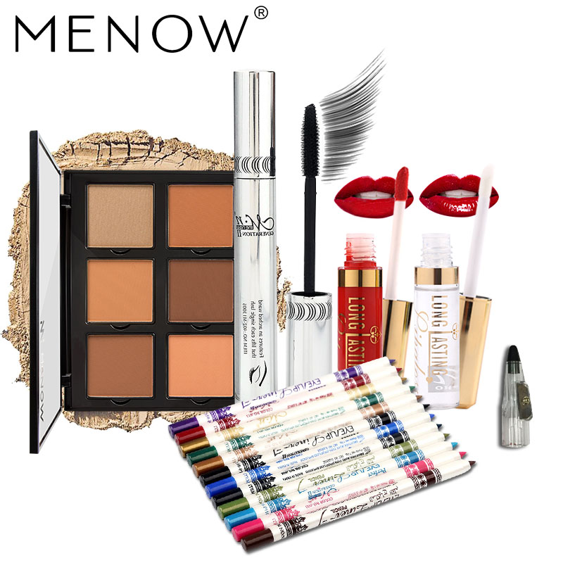 MENOW Brand Make up set  12 Pcs Eyeliner Pencil with Sharpener & Concealer & Lip Gloss Waterproof Lasting Face Cosmetic make up forever lift concealer