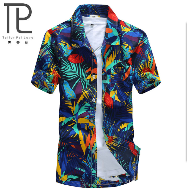 Brand Summer Hawaiian Men's Hawaii Beach Shirt, Men Short Sleeve Floral Loose camisas masculina Casual Shirts chemise homme#A7