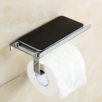 Bathroom 304 Stainless Steel Paper Holder With Cell Phone Towel Rack Toilet Box Wall Mount Roll