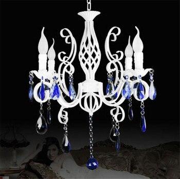 레트로 소박한 단 철 샹들리에 e14 * 4pcs led 촛불 빛 순수한 흰색 빈티지 골동품 블루 크리스탈 haning 램프 집에 대 한