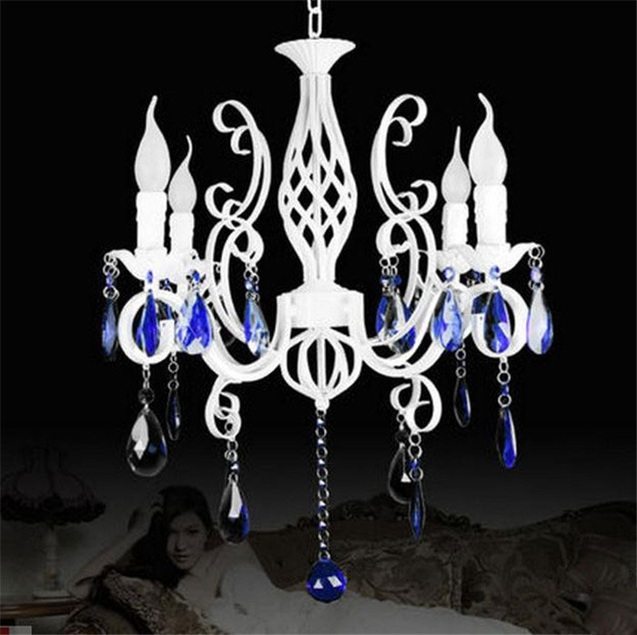 Retro Rustic Wrought Iron Chandelier E14*4pcs LED Candle Light Pure White Vintage Antique Blue Crystal haning Lamp For Home wrought iron chandelier e14 3pcs led candle light white vintage rustic pendant lamp for home study room living room
