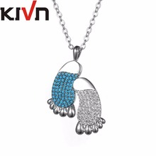 KIVN Fashion Jewelry Cubic Zirconia Womens Girls Footprint Wedding Pendant Necklaces Mothers Promotion Christmas Birthday Gifts