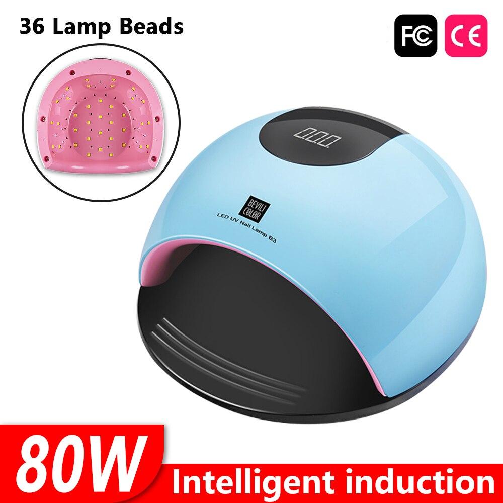 DIOZO 80W 36PCS Dupla Luz LED/Contas de Luz UV Para Unhas Sonda Sensor Infravermelho Todos Cola Seca rapidamente o Projeto Profissional Manicure