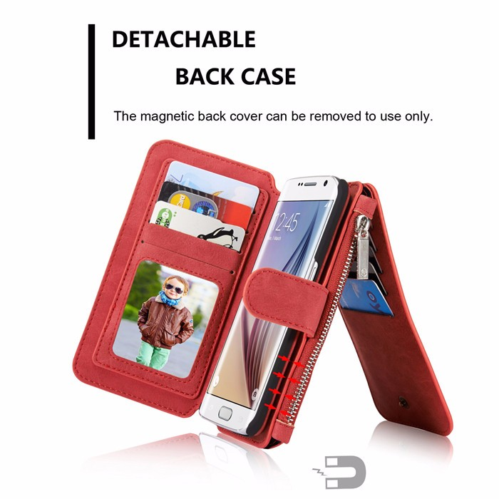 Wallet case For Samsung Galaxy S6 S6 Edge Edge Plus Genuine Leather Phone Case Bag Multi-functional Back Cover 14 Cards Holder (5)