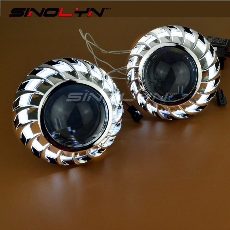 SINOLYN 2.5 inches Spirals Firewheel Tornado Angel Eyes Halo HID Bi xenon Lens Projector Headlight Car Styling LHD RHD H1 H4 H7