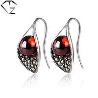 925 Silver Earring Women Vintage Synthetic Ruby Garnet Stone S925 Thai Sterling Silver Boucle D Oreille