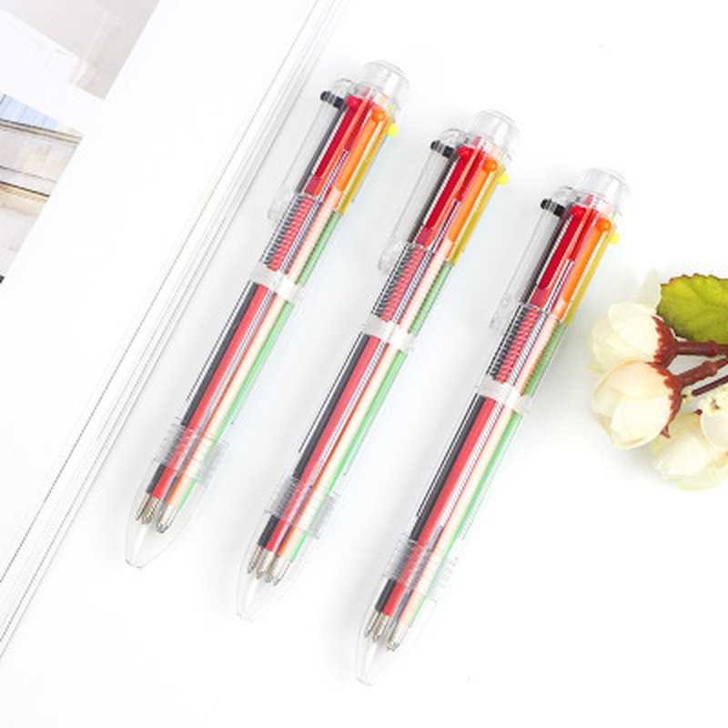 1pcs Press 6 Colors Gel Pens Cute Stationary 0.5mm Color Press Ballpoint Pen Novelty Gel Pen Cute Pens Kawaii School Supplies