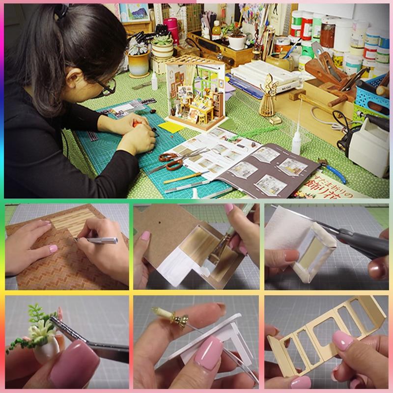CUTEBEE DIY Doll Evi Mebelləri ilə Miniatür Kukla Evi Uşaqlar - Kuklalar və kuklalar üçün aksesuarlar - Fotoqrafiya 5