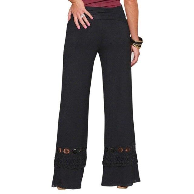 a2c8307edfd Kenancy Women Vintage Loose High Waist Long Trousers Lace Patchwork Casual  Cotton Palazzo Pants Wide Leg Pants pantalones