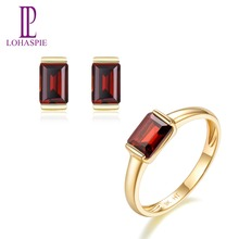 LP Solid 9K Yellow Gold Natural Gemstone Garnet Stud Earrings & Ring Bridal Jewelry Sets For Women Engagement / Anniversary Gift недорого
